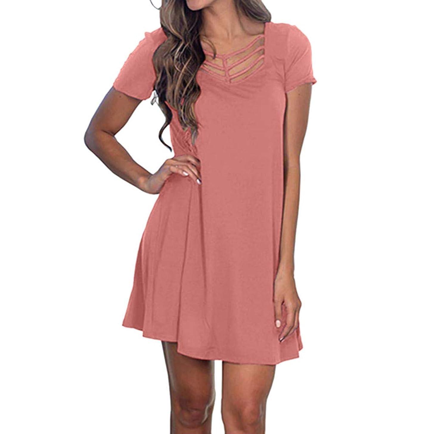Sttech1 Women's Summer Short Sleeve T Shirt Dress Criss Cross Neckline Casual Loose Tunic Swing Dress