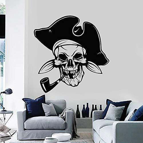Estilo nórdico divertido pirata waller calavera estilo mar vinilo cool boy | Art deco de fondo de TV