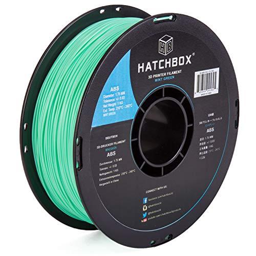 HATCHBOX ABS 3D Printer Filament, Dimensional Accuracy +/- 0.03 mm, 1 kg Spool, 1.75 mm, Mint Green