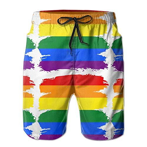 Sunny R Bandera LGBT Pride Rainbow Uomo Stampato Nuotare Trunks Fare Surf Asciugatura Veloce Spiaggia Pantaloncini con Tasche XXL