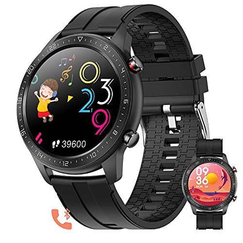 BNMY Relojes Inteligentes Hombre Smartwatch Llamada Bluetooth con Pulsómetro,Podómetro,Monitor De Sueño, Pulsera De Actividad,Smartwatch Inteligentes Hombre para iOS Y Android,C