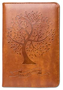 Tree Writing Journal by SohoSpark, Refillable Faux Leather, Lined Personal Diary, 6x8.75 Notebook for Writers. Fountain Pen Friendly, Lay-Flat Binding