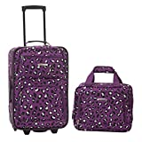 Rockland Fashion Softside Upright Luggage Set, Purple Leopard, 2-Piece (14/20)
