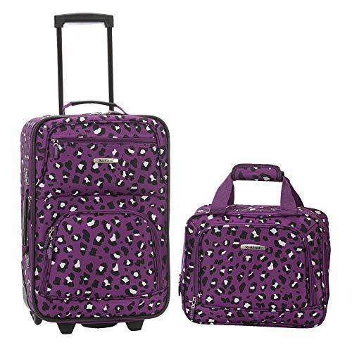Rockland Fashion Softside Upright Luggage Set, Purple Leopard
