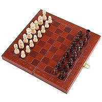 チェスセット3in 1木製チェス盤、チェス、チェッカー、子供と大人のためのバックギャモン、Trave用の折りたたみ式およびポータブルゲームボード(レジャーパズルファミリーエンターテインメント)