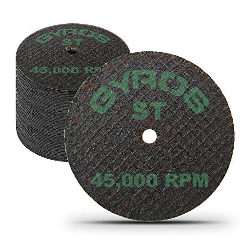 """GYROS 1.5"""" Resin Cut-Off Wheels for Rotary Tools;50 Double Fiberglass Reinforced Cutting Discs; Super-Tensile Materials like Titanium, Carbon; Dremel Cutting Tool Accessory; Made in USA 11-41502/50"""