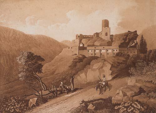 H. W. Fichter Kunsthandel: J.TIELKER(*1763), Ruine der Burg Schreckenstein, Strekov, Böhmen, Aquatinta
