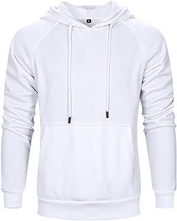 LBL ASALI 男士休闲连帽衫纯色运动套头柔软连帽运动衫 白色 X-Large