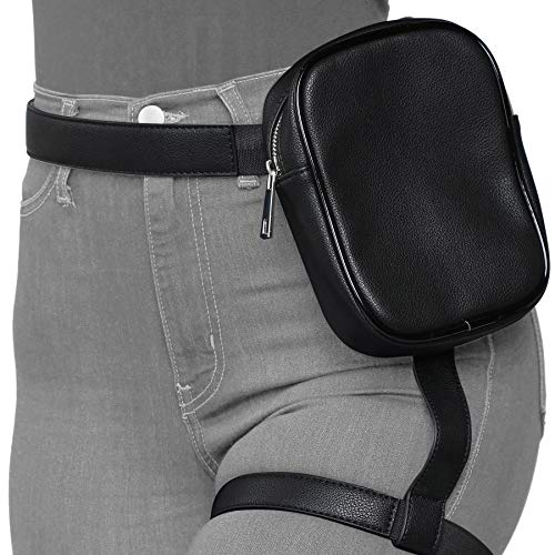 Beingeschirr, Bauchtasche für Frauen, Hüfttaschen mit Gürtel, Damen-börse, Bauchtaschen, Schwarz (schwarz), Large