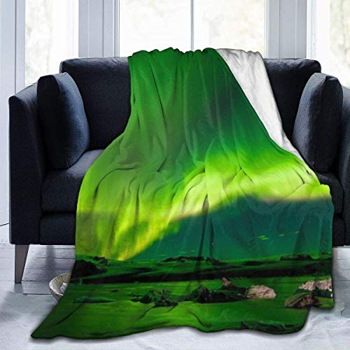 Ruin Throw Blanket Soft Colorful Oversized | Iceland Air Northern Lights Decorative Couch Travel Blanket