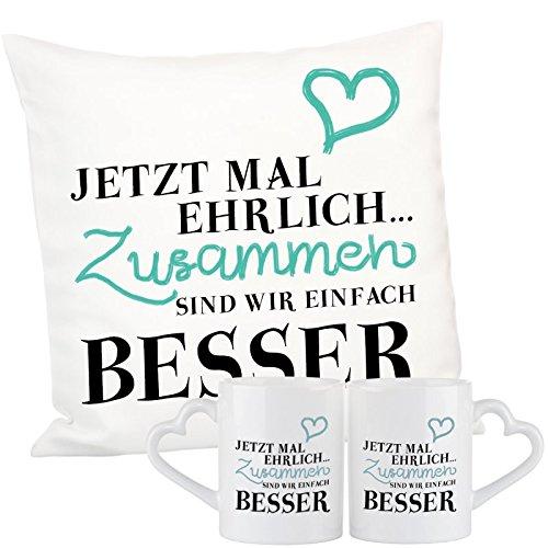 Geschenke 24: Geschenkset - Jetzt mal ehrlich - Romantisches Kuschelkissen und Tassen im Set - Sofakissen Zierkissen originelles Liebesgeschenk mit Herz