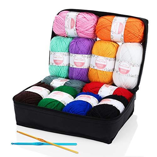 Hilo Acrílico SOLEDI Ovillos de Lanas de Hilo lana prémium Hilados Madejas, perfecto para DIY y tejer a mano, con gratis ganchillo y bolsa de almacenamiento (50 g * 12 colores)