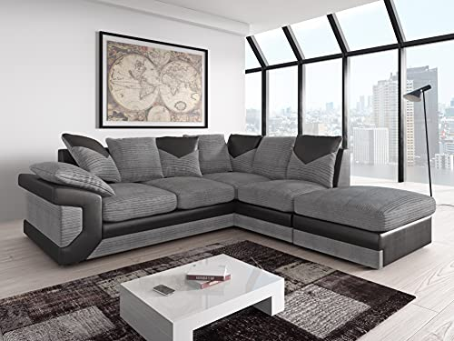 Amazing Sofas NEW LARGE DINO CORNER SOFA JUMBO CORD GREY BLACK OR BEIGE BROWN LEFT OR RIGHT(Grey Black right). Fire resistant as per British Standards, foam filled seats for comfort.