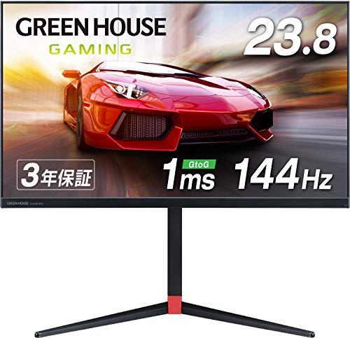 グリーンハウス ゲーミングモニター 23.8インチ 144Hz 1ms Adaptive-Sync 高さ調整 回転 HDMIx2 DPx1 3年保...