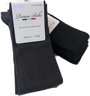disponibili vari assortimenti DREAM SOCKS 6 paia calze lunghe da uomo in cotone filo di scozia elasticizzate,calze lunghe molto leggere made in italy rimagliate a mano
