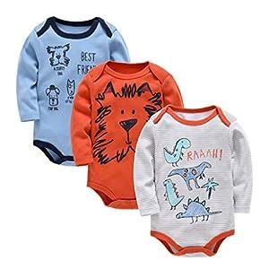 Bebé Body Pack de 3 - Mono Niños Mameluco Manga Larga para Niñas Pijama Trajes de Invierno Algodón Pelele Ropa 0-3 Meses