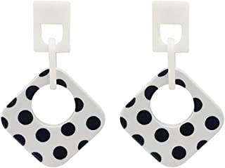 Girl Acrylic Ear Pendant Exaggerated Spotted Geometric Earrings Black and White Contrast Color Senior Feeling Ear Ornaments Jinlyp (Color : White Geometry)