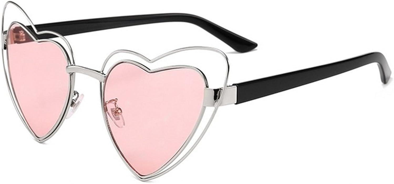 Heart Shape Metal Full Frame Sunglasses for Women Men UV Predection for Driving Vacation Summer Beach (color   C2)