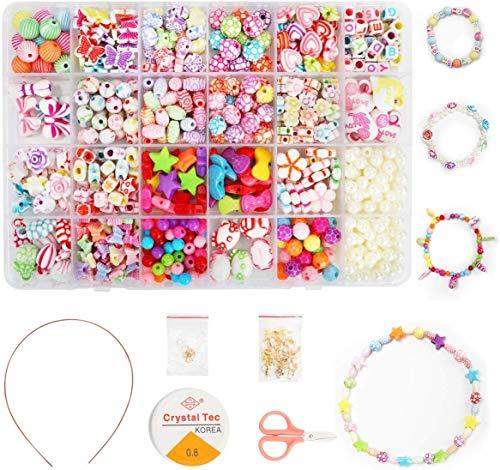 QIMMU Perlen zum Auffädeln, DIY Perlen Set Armbänder,Buchstaben Perlenschmuck Schmuckbasteln,Geschenk für Mädchen,Ketten Basteln