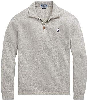 Polo Ralph Lauren Men Half Zip French Rib Cotton Sweater  XL GreyHtr
