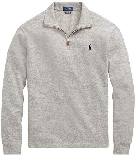 Polo Ralph Lauren Men Half Zip French Rib Cotton Sweater (L, GreyHtr)
