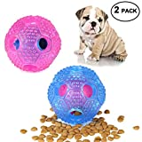 RENZCHU Interactive Dog Toy, IQ Treat Ball Food Dispensing Toys for Small Medium Large Dogs Durable Chew Ball, Nontoxic Rubber and Bouncy Dog Ball, Cleans Teeth-2 PCS