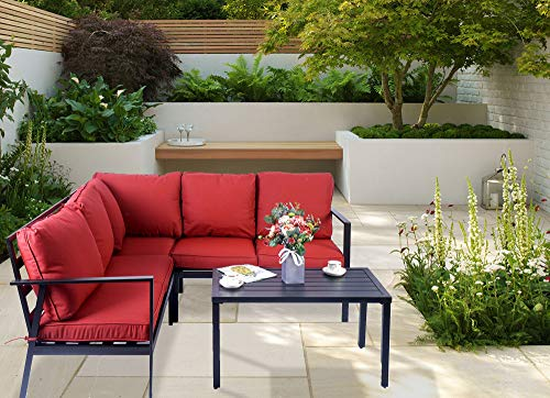 Kozyard 4 Pieces Outdoor Sofa Set with Strong Metal Frame and Comfortable Cushions, Perfect as Patio Furniture Conversation Sets, Garden Bistro Set (Burgandy)
