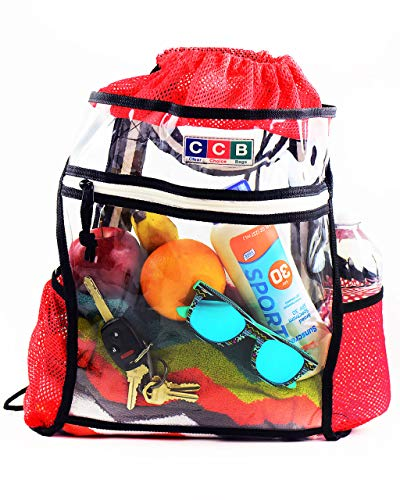 Clear Drawstring Backpack Security Approved - Transparent Heavy Duty Plastic Bag for Festival School Stadium Entry