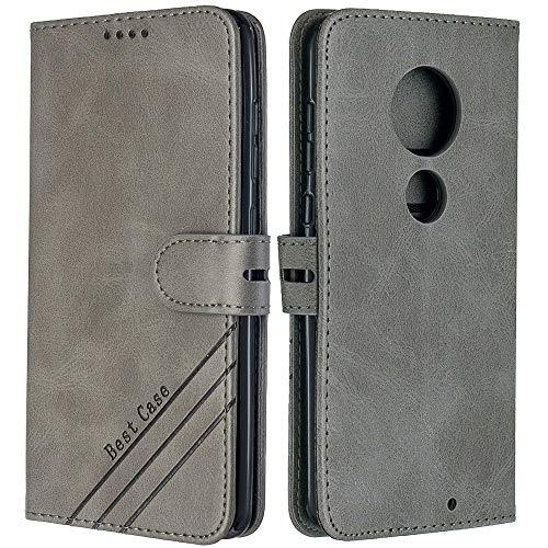 EMAXELERR Motorola Moto Z4 Play Hülle Retro Luxus Premium PU Leder Stoßfest Wallet Flip Magnetic Schutzhülle mit Kreditkartenfach für Motorola Moto Z4 Play Grey HX.