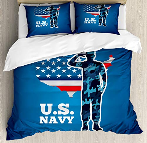 Lunarable US Navy Duvet Cover Set, Saluting Service Man Silhouette with American Map and Flag Patriotic Image, Decorative 3 Piece Bedding Set with 2 Pillow Shams, California King, Navy Blue Red White