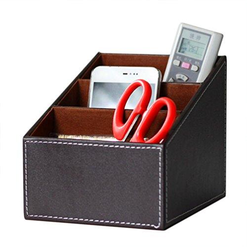 Organizador de escritorio de cuero elegante, caja de almacenamiento de escritorio multifunción para bolígrafo / lápiz, teléfono celular, control remoto marrón