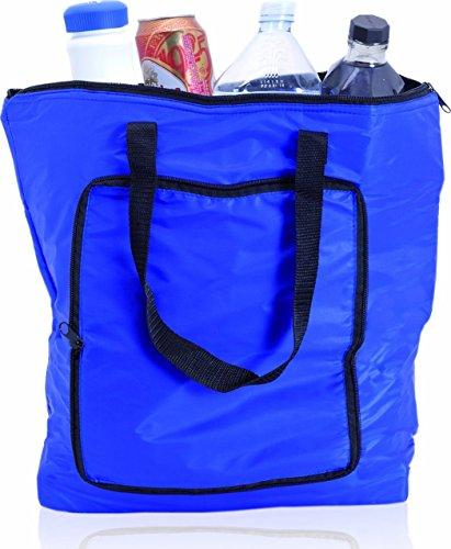 Grosse Faltbare Kühltasche/Isoliertasche/Wärmtasche (18 Liter) mit Reißverschluß inkl. Kühlakku (blau)