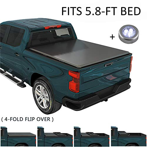 CARMOCAR 5.8FT Soft Quad-Fold Truck Bed Tonneau Cover for 2007-2018 Replacement for Chevy Silverado GMC Sierra Waterproof Tonneau Covers Top Mount Assembly LED Lamp Bed Tonneau Covers