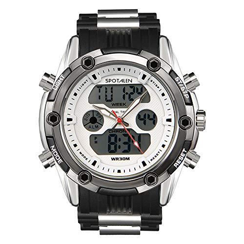 SPOTALEN Herren Sportuhr Analog-Digital wasserdichte Uhren für Herren Military Chronograph Stoppuhr Classic Silikonband Weiß