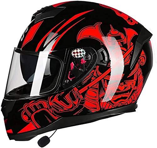 ZYQZYQ Bluetooth Integrado Modular Flip Up Front Motoccycle Casco, InterComero de Doble Visera Radio Dot/Casco de Motocicleta de Crucero Aprobado por ECE para Hombres y Mujeres