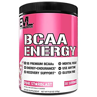 Evlution Nutrition BCAA Energy - Essential BCAA Amino Acids, Vitamin C + Natural Energizers for Performance, Immune Support, Muscle Building, Recovery, B Vitamins, Pre Workout, 30 Serv, Pink Starblast