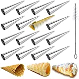 JasCherry 16 piezas Molde para Croissant de Acero Inoxidable con Cepillo, Cannoli Molde en Forma de Cono, Tubos de Acero Inoxidable para Hacer Cannoli, Cuernos de Crema, Cruasanes, Tartas, Pan