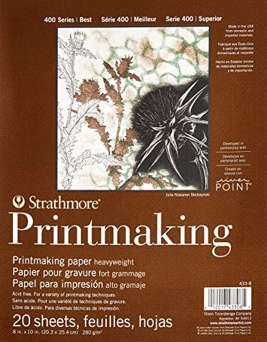 Strathmore Paper 400 Series Printmaking Pad, Heavyweight, 8'x10', White, 20 Sheets