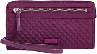 Vera Bradley Iconic RFID Front Zip Wristlet in Gloxinia Purple Microfiber
