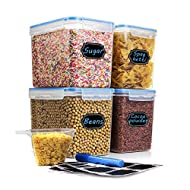 Cereal & Dry Food Storage Container, Estmoon Plastic Storage Containers, Airtight, Leak proof With Locking Lids - Suitable For Cereal, Flour, Sugar, Rice, Snacks - Set of 4 (122.99 oz / 3.6L)