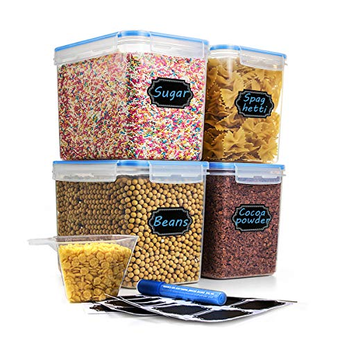Large Cereal & Dry Food Storage Containers, Estmoon Plastic Storage Containers, Airtight, Leakproof With Locking Lids - Suitable For Cereal, Flour, Sugar, Rice, Snacks - Set of 4 (122.99 oz / 3.6L)