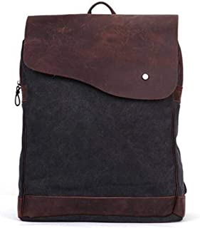 Fashion Womens Mens 100% Cotton Vintage Canvas Double Shoulder Backpack with Leather Trim Large Capacity Casual Multifunction Backpack for School Outdoor s922 (Color : Black, Size : S)
