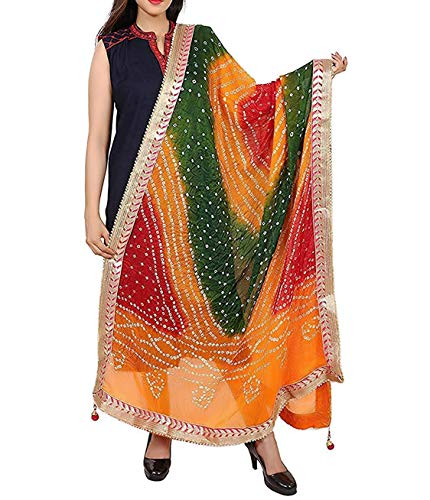 AD FASHIONHUB Women Silk Bandhej Multi-Colored Heavy Dupatta (Chunni, Stole, Scarves) (multi colour_5::multi colour_4)
