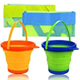 butterfunny 2 Pack 2L Round Foldable Buckets with 2 Pack Mesh Storage Bags, Foldable Silicone Pail Buckets Sand Buckets, Silicone Collapsible Bucket for Beach Play, Water Jug(Yellow and Greeen)
