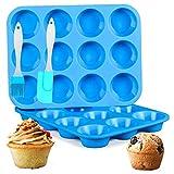 DSTong 2 PCS Silicone Vassoi per Muffin 12 Tazze And 1*spatola, per Cupcake Stampo in Sili...
