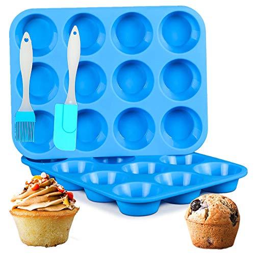 DSTong 2 PCS Silicone Vassoi per Muffin 12 Tazze And 1*spatola, per Cupcake Stampo in Silicone per Mini Muffin o Biscotti,Senza BPA, Antiaderente, Utilizzabile nel Forno a microonde(Blu)