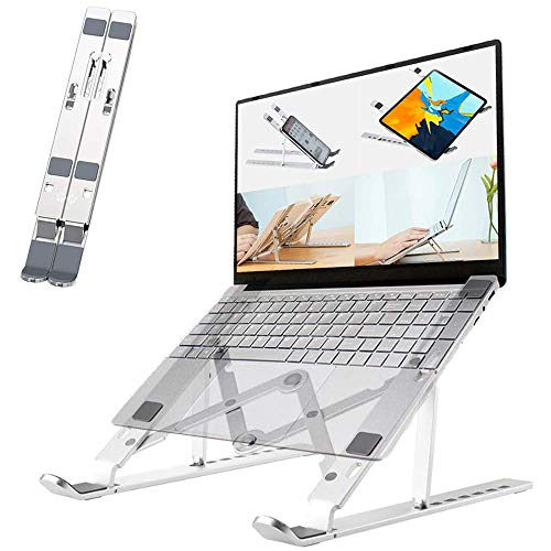 Adjustable Laptop Stand, Foldable Computer Aluminum Mount, Laptop Riser Ventilated Cooling Notebook Stand, Desktop Holder for Desk