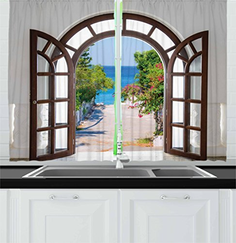 """Ambesonne Beach Kitchen Curtains, Ocean Sea View from Summer Season Italian Design in Garden Image, Window Drapes 2 Panel Set for Kitchen Cafe Decor, 55"""" X 39"""", Blue White"""