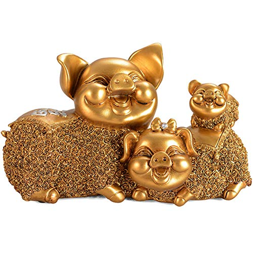 J.Mmiyi Pig Statues And Figurines Home Decor, A Family of Three Sculptures, The Expression of Laughter, Home Office Decoration Handcrafted Gift,Gold