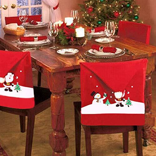 Pack of 4 Christmas Chair Covers ZSWQ-Stuhlhusse Dekoration, Geschenk für Weihnachten, Stuhl, Tisch, Küche, Esszimmer, Hotel, Party, Silvester